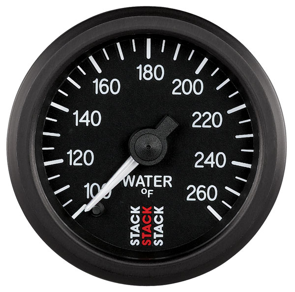 Large photo of Stack Stepper Analog Water Temperature Gauge, 100-260 F, Pegasus Part No. ST3308