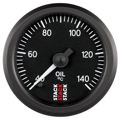 Large photo of Stack Stepper Analog Oil Temperature Gauge, 40-140 C, Pegasus Part No. ST3309