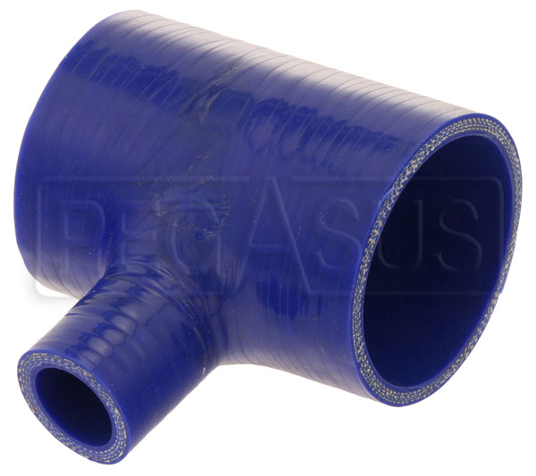 Large photo of Blue Silicone T-Hose, 70mm (2.75