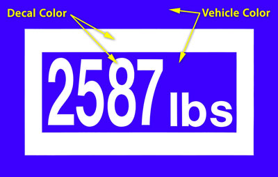 Large photo of Custom-Cut Vinyl Vehicle Weight Decal, Positive, Pegasus Part No. WEIGHT-A-Color