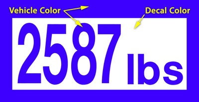 Large photo of Custom-Cut Vinyl Vehicle Weight Decal, Negative, Pegasus Part No. WEIGHT-B-Color
