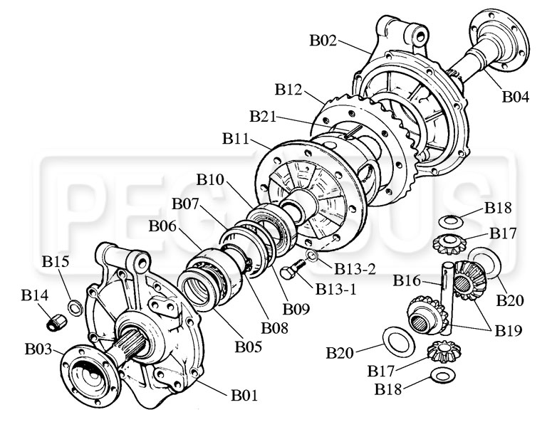 Webster Hewland Mk Series Differential Parts Drawing B