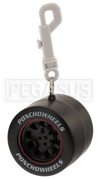 Large photo of White Rain Poncho in Racing Tire Container with Belt Clip, Pegasus Part No. 2800
