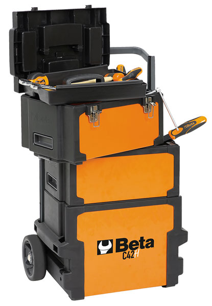 Large photo of Beta Tools C42H Three-Module Tool Trolley, Deep / High, Pegasus Part No. BT-042000002