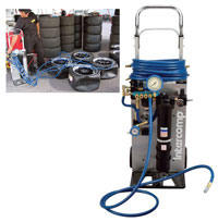 Click for a larger picture of Tire Drying/Purging System - 4 tire, with Hose and Cart