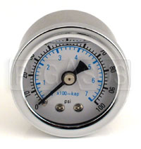 Click for a larger picture of 100psi Fuel Pressure Gauge 1/8 NPT Male