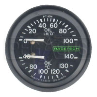 Click for a larger picture of Racetech Dual 100psi Oil Pressure/140 C Oil Temperature