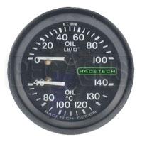 Click for a larger picture of Racetech Dual 100psi Oil Pressure/140 C Oil Temperature