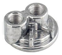 Click for a larger picture of Spin-On Remote Oil Filter Adapter, 1/2 NPT Ports