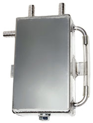 Click for a larger picture of Aluminum Catch Tank, Bulkhead Mount w/ Barbed Fittings, 1 L