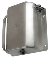 Click for a larger picture of Aluminum Catch Tank, Bulkhead Mount, 6AN Male, 1.5 L