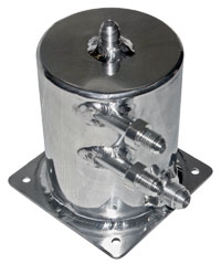 "Click for a larger picture of Fuel Scavenge Tank, Polished, 5.5"" H x 4"" D Base Mount"