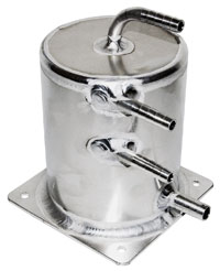 "Click for a larger picture of Fuel Scavenge Tank, 5.5"" High x 4"" Dia, Push-on Fittings"