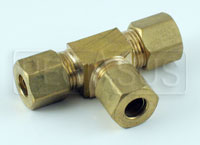 "Click for a larger picture of FireBottle Brass Tee for 1/4"" Aluminum Tubing"