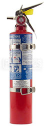 Click for a larger picture of (H) 2.5 lb Halon 1211 Fire Extinguisher with Bracket