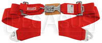 "Click for a larger picture of Latch & Link Lap Belt, Snap-in Pull Down 27-55"" Red Old Date"