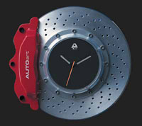 Click for a larger picture of Brake Disc Clock, Red Caliper with Silver Center