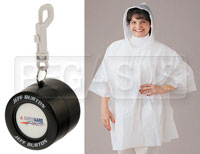 Click for a larger picture of Jeff Burton Rain Poncho in Racing Tire Container, with Clip