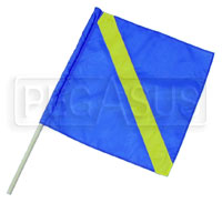 "Click for a larger picture of 24"" x 24"" Blue/Yellow Nylon Passing Flag"