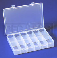 Click for a larger picture of Large Plastic Organizer Box, 18 compartments