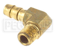 Click for a larger picture of 1/8 NPT to 5/16 (8mm) Hose Barb Fitting, Brass - Right Angle