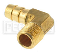 Click for a larger picture of 1/4 NPT to 3/8 Hose Barb Fitting, Brass - Right Angle