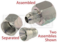 Click for a larger picture of AN Female to AN Male Swivel Reducer, Steel