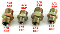 Click for a larger picture of Clearance 3/8 BSP Male to 1/2 BSP Male Adapter, Steel