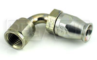 Click for a larger picture of 90 degree 4AN Hose End for Size 4 PTFE Brake/Clutch Hose