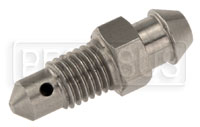 "Click for a larger picture of 1/4-28 Bleeder Screw, 0.90"" overall length, Stainless Steel"