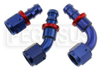 Click for a larger picture of Blue Aluminum Barbed Hose Fitting to AN Female