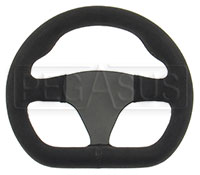 "Click for a larger picture of Alpha Flat Bottom Steering Wheel, Suede, 255mm (10"")"