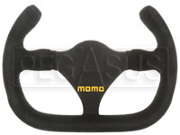 Click for a larger picture of MOMO Flat Bottom Cut-Off Top Steering Wheel, Suede, 270mm