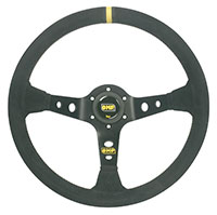 "Click for a larger picture of OMP Corsica Steering Wheel, Smooth Leather, 350mm (13.8"")"