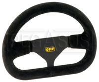 "Click for a larger picture of OMP Flat-Bottom Steering Wheel, Suede, 250mm (9 7/8"")"