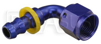 Click for a larger picture of Blue Aluminum Barbed Hose End to AN Female, Unequal Size