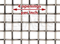 Click for a larger picture of Coarse Mesh Stainless, #4 x .047 Wire (4 openings per inch)