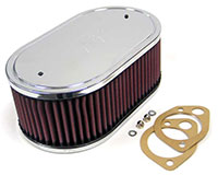 Click for a larger picture of K&N Air Filter, Weber DCOE 45, 48 + Mikuni/Solex, 5.5 x 9""