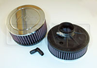 "Click for a larger picture of K&N VW Solex Round Filter, 2 1/16"" Offset Clamp Mt 6"" dia."