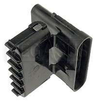 Click for a larger picture of Weather Pack 6-Pin Shroud Connector Body