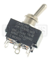 Click for a larger picture of Toggle Switch, DPDT On-Off-On 15 amp, Solder Lug Terminals