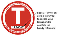 Click for a larger picture of Transponder Location Decal, 3 inch dia with Write-On Space
