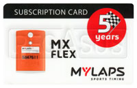 Click for a larger picture of MyLaps Subscription Card for MX / Motocross X2, 5 Year