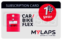 Click for a larger picture of MyLaps Subscription Card for Car / Motorcycle X2, 1 Year