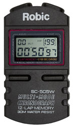 Click for a larger picture of Robic SC-505W Hand Held Timer, 12 Lap Memory