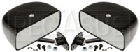 Click for a larger picture of Club Series Rectangular Flat Mirrors, Carbon Fiber, Pair