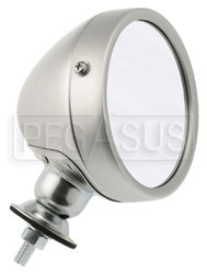 Click for a larger picture of Reproduction Aluminum Vintage Mirror, Convex Lens