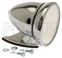 Click for a larger picture of Reproduction Chrome Bullet Mirror, Flat Lens