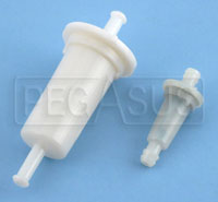 "Click for a larger picture of Inline Fuel Filter, Plastic, 1/4"" Push-On Fittings"