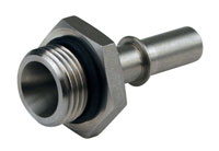 """Click for a larger picture of LT1 Fuel Injection Adapter, -8 Male ORB to 3/8"""" Male QC"""